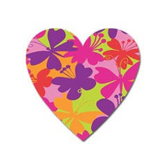 Butterfly Animals Rainbow Color Purple Pink Green Yellow Heart Magnet