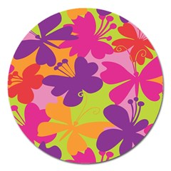Butterfly Animals Rainbow Color Purple Pink Green Yellow Magnet 5  (Round)