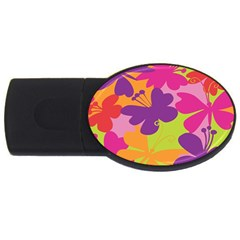 Butterfly Animals Rainbow Color Purple Pink Green Yellow USB Flash Drive Oval (2 GB)