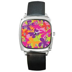 Butterfly Animals Rainbow Color Purple Pink Green Yellow Square Metal Watch