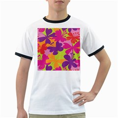 Butterfly Animals Rainbow Color Purple Pink Green Yellow Ringer T Shirts