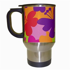 Butterfly Animals Rainbow Color Purple Pink Green Yellow Travel Mugs (White)