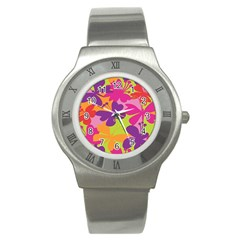 Butterfly Animals Rainbow Color Purple Pink Green Yellow Stainless Steel Watch