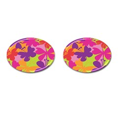 Butterfly Animals Rainbow Color Purple Pink Green Yellow Cufflinks (Oval)
