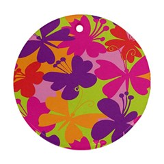 Butterfly Animals Rainbow Color Purple Pink Green Yellow Round Ornament (two Sides)