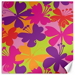 Butterfly Animals Rainbow Color Purple Pink Green Yellow Canvas 16  x 16