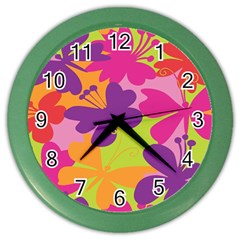 Butterfly Animals Rainbow Color Purple Pink Green Yellow Color Wall Clocks