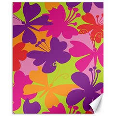 Butterfly Animals Rainbow Color Purple Pink Green Yellow Canvas 11  X 14