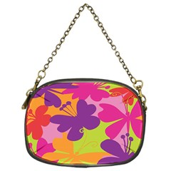 Butterfly Animals Rainbow Color Purple Pink Green Yellow Chain Purses (One Side)
