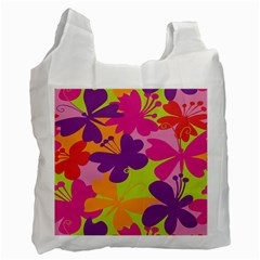 Butterfly Animals Rainbow Color Purple Pink Green Yellow Recycle Bag (Two Side)