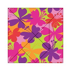 Butterfly Animals Rainbow Color Purple Pink Green Yellow Acrylic Tangram Puzzle (6  x 6 )
