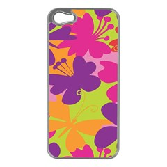 Butterfly Animals Rainbow Color Purple Pink Green Yellow Apple Iphone 5 Case (silver)