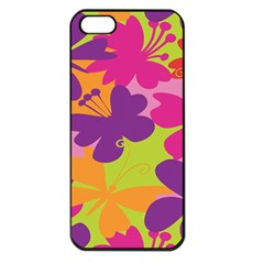 Butterfly Animals Rainbow Color Purple Pink Green Yellow Apple iPhone 5 Seamless Case (Black)