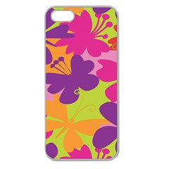 Butterfly Animals Rainbow Color Purple Pink Green Yellow Apple Seamless iPhone 5 Case (Clear)