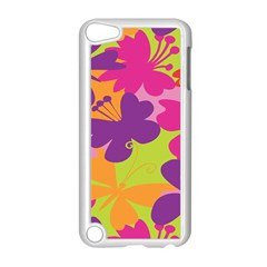Butterfly Animals Rainbow Color Purple Pink Green Yellow Apple iPod Touch 5 Case (White)