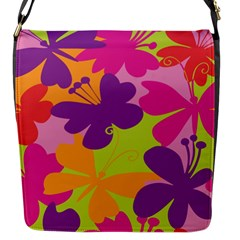 Butterfly Animals Rainbow Color Purple Pink Green Yellow Flap Messenger Bag (S)