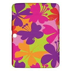 Butterfly Animals Rainbow Color Purple Pink Green Yellow Samsung Galaxy Tab 3 (10.1 ) P5200 Hardshell Case