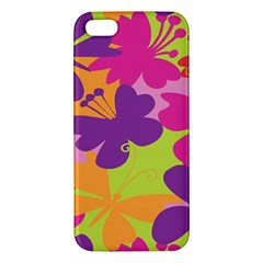 Butterfly Animals Rainbow Color Purple Pink Green Yellow iPhone 5S/ SE Premium Hardshell Case