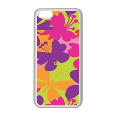 Butterfly Animals Rainbow Color Purple Pink Green Yellow Apple iPhone 5C Seamless Case (White)
