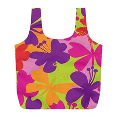 Butterfly Animals Rainbow Color Purple Pink Green Yellow Full Print Recycle Bags (l)