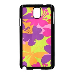 Butterfly Animals Rainbow Color Purple Pink Green Yellow Samsung Galaxy Note 3 Neo Hardshell Case (Black)