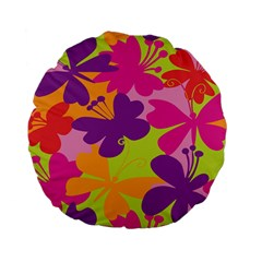 Butterfly Animals Rainbow Color Purple Pink Green Yellow Standard 15  Premium Flano Round Cushions