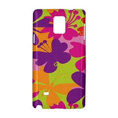 Butterfly Animals Rainbow Color Purple Pink Green Yellow Samsung Galaxy Note 4 Hardshell Case