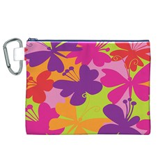 Butterfly Animals Rainbow Color Purple Pink Green Yellow Canvas Cosmetic Bag (XL)