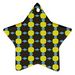 Blue Black Yellow Plaid Star Wave Chevron Ornament (Star)