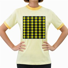 Blue Black Yellow Plaid Star Wave Chevron Women s Fitted Ringer T-Shirts