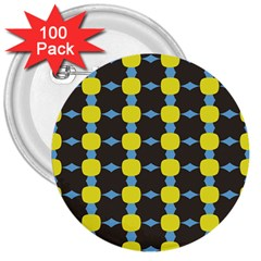 Blue Black Yellow Plaid Star Wave Chevron 3  Buttons (100 pack)