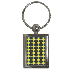 Blue Black Yellow Plaid Star Wave Chevron Key Chains (rectangle)
