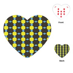 Blue Black Yellow Plaid Star Wave Chevron Playing Cards (Heart)