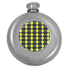 Blue Black Yellow Plaid Star Wave Chevron Round Hip Flask (5 oz)