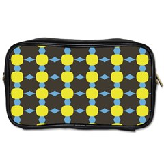 Blue Black Yellow Plaid Star Wave Chevron Toiletries Bags 2-Side