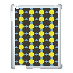 Blue Black Yellow Plaid Star Wave Chevron Apple iPad 3/4 Case (White)