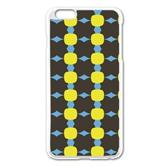 Blue Black Yellow Plaid Star Wave Chevron Apple Iphone 6 Plus/6s Plus Enamel White Case