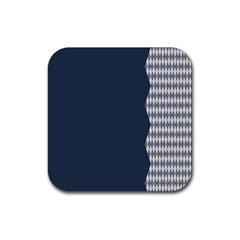 Argyle Triangle Plaid Blue Grey Rubber Coaster (Square)