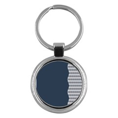 Argyle Triangle Plaid Blue Grey Key Chains (Round)