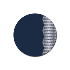 Argyle Triangle Plaid Blue Grey Rubber Round Coaster (4 pack)