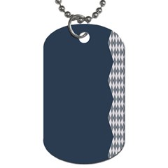 Argyle Triangle Plaid Blue Grey Dog Tag (One Side)