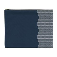Argyle Triangle Plaid Blue Grey Cosmetic Bag (XL)