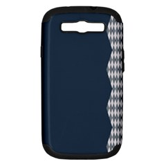 Argyle Triangle Plaid Blue Grey Samsung Galaxy S III Hardshell Case (PC+Silicone)