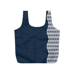 Argyle Triangle Plaid Blue Grey Full Print Recycle Bags (S)
