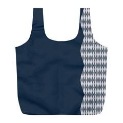 Argyle Triangle Plaid Blue Grey Full Print Recycle Bags (L)