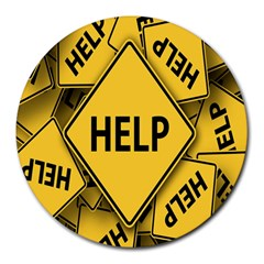 Caution Road Sign Help Cross Yellow Round Mousepads