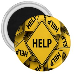 Caution Road Sign Help Cross Yellow 3  Magnets