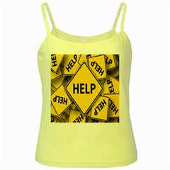 Caution Road Sign Help Cross Yellow Yellow Spaghetti Tank