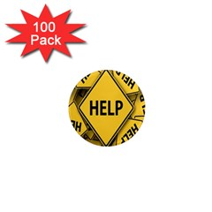 Caution Road Sign Help Cross Yellow 1  Mini Magnets (100 Pack)