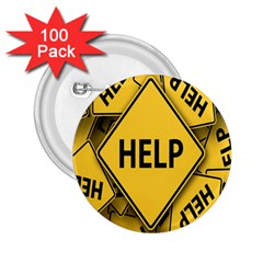 Caution Road Sign Help Cross Yellow 2.25  Buttons (100 pack)